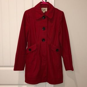 Women's Red Wool Blend Coat - Size Small - EUC